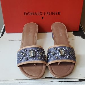 Donald J. Pliner Shoes - Donald J Pliner Denim Metallic Sandals